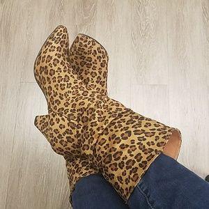 New! Slouch Cuban Heel Boots Leopard & Mustard